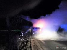 Pożar samochodu ciężarowego