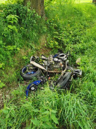 Wypadek motocykla z quadem