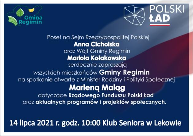 Omówienie programu Polski Ład przez minister Marlenę Maląg w gm. Regimin