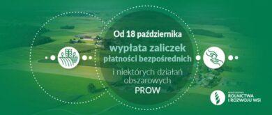 Od 18 października wypłata zaliczek płatności bezpośrednich i niektórych działań obszarowych PROW